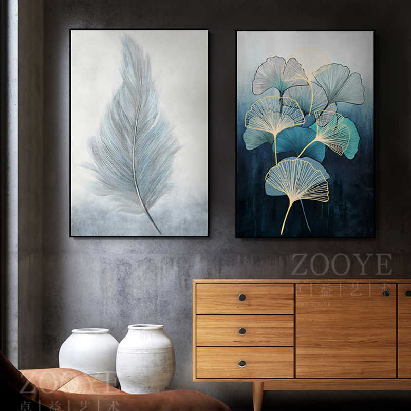 Nordic Style Soft Feathers Zen Leaves Gentle Color Canvas Painting Poster and Print For Living Room Bedroom Aisle Wall Art Decor