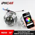 Free Shipping IPHCAR Car Styling Colorful Headlight LED Angel Eyes RGB Color Changing by Mobile Phone HL H1 3.0 Projector Lens