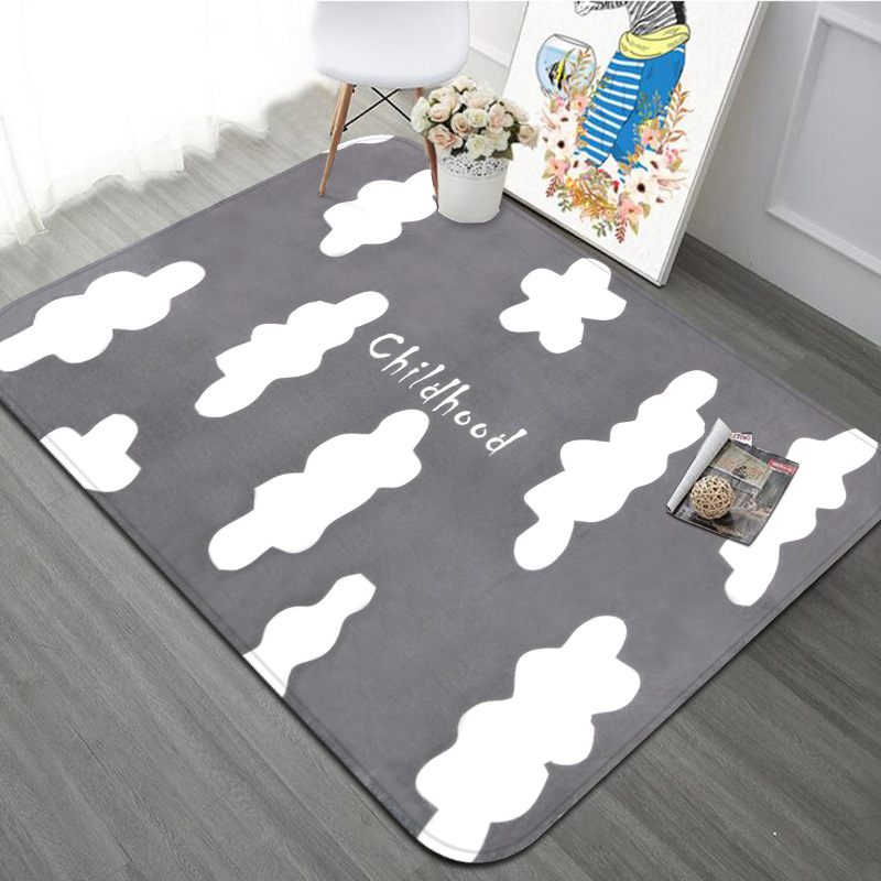 100X150CM Childhood Style Pink Gray Rectangle Carpets