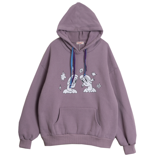 Casual Hoodies Female Thick Fleece Lined Women Pullover Sweatshirts Cartoon  Printed Cotton Pullovers Tops Preppy Style Purple 589d9be890