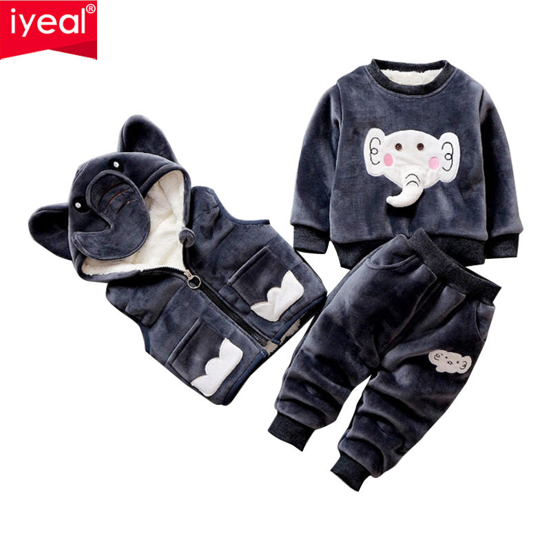 IYEAL Baby Girl Boy Clothing Sets Elephant Pattern Winter Warm Vest + Tops + Pants Kid Toddler Clothes Suit for 1 2 3 4 Years children s clothing sets boy girl clothing 1 2 3 4 years fashion spring autumn winter toddler boy clothing outfit wear