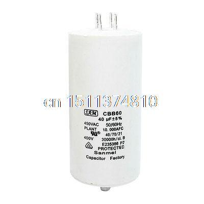 CBB60 AC 450V 40uF 8mm Thread Male Screw Polypropylene Film Motor Run Capacitor 100 pcs lot cbb capacitor 630 v473 473 k 473 v 47 nf feet from 10 mm cbb22 film capacitor