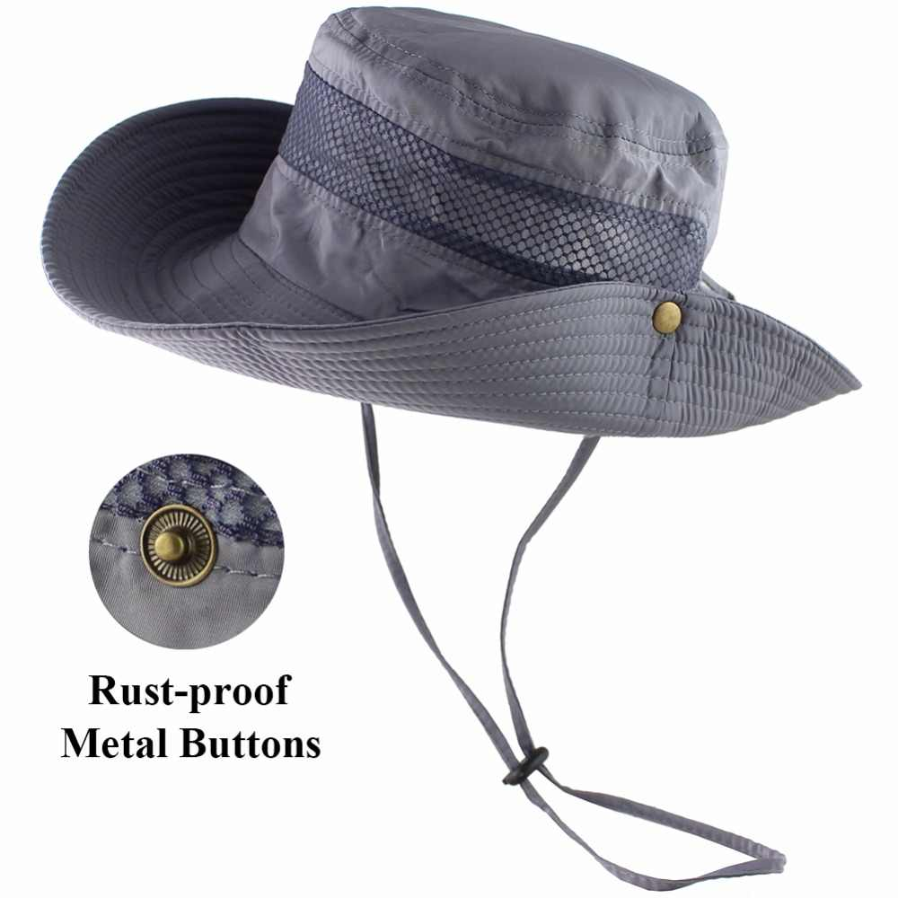 e9f370317b5 ... UPF 50+ Bucket Hat Summer Men Women Fishing Boonie Hats UV Protection  Long Large Wide ...