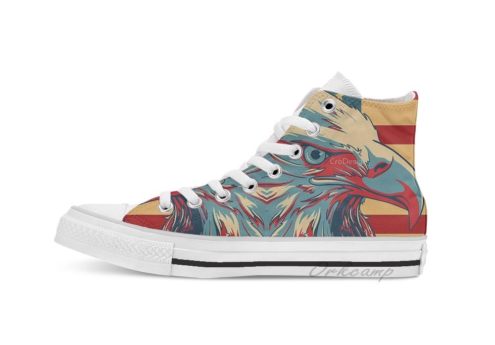 American Patriotic Eagle Bald High Top Canvas flat Casual Custom Design shoes Drop Shipping