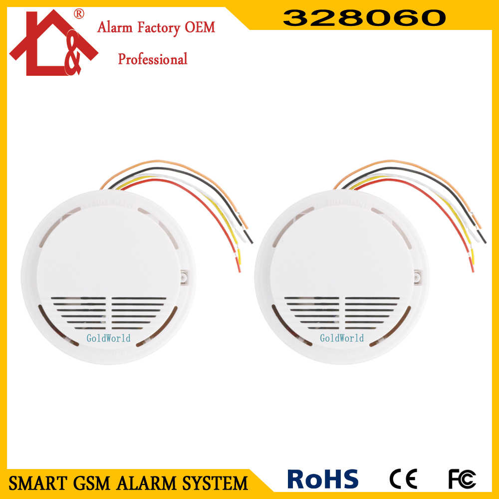 2pcs wired smoke detector home security smoke detector alarm sensor for cable gsm pstn burglar alarm [ 1000 x 1000 Pixel ]