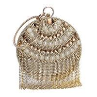 Элитный бренд круглой формы Дизайн бисером Для женщин вечерние сумки стразы кисточкой Ежедневные клатчи Кошелек Малый цепи должны Сумки