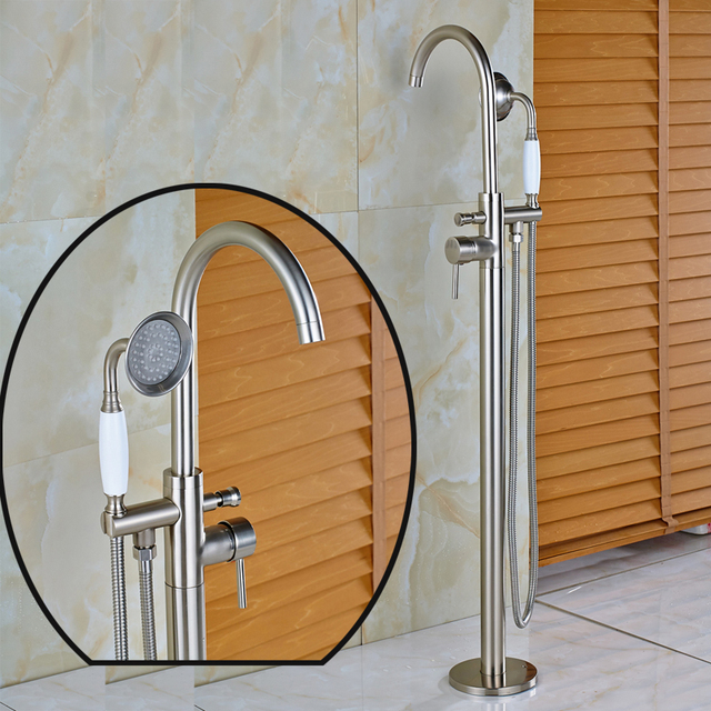 Brushed Nickel Bathtub Shower Mixer Faucet with Ceramic Hand Shower ...