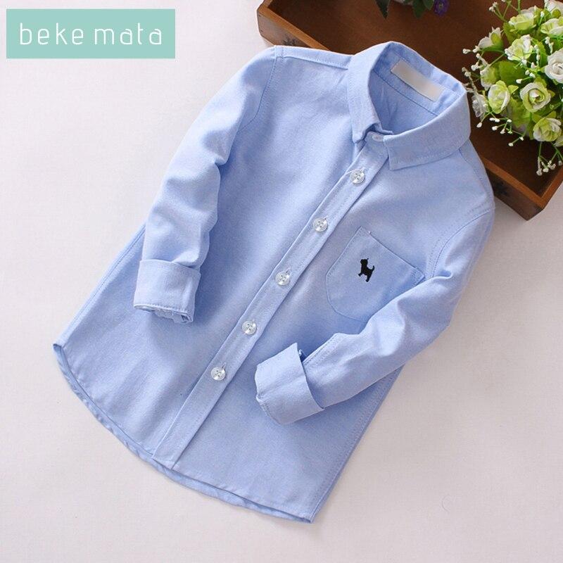 BEKE MATA Kids Boys Shirts 2018 Autumn Long Sleeve Solid Todder Shirts For Boys Cotton Fashion Brand Baby Boy Tops Children 2-11