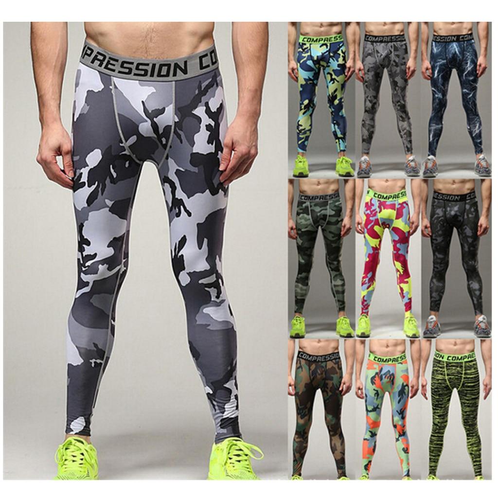 2pcs Mens Sport Compression Leggings Base Long Pants Camo Fitness Trousers XXL Blue+Grey
