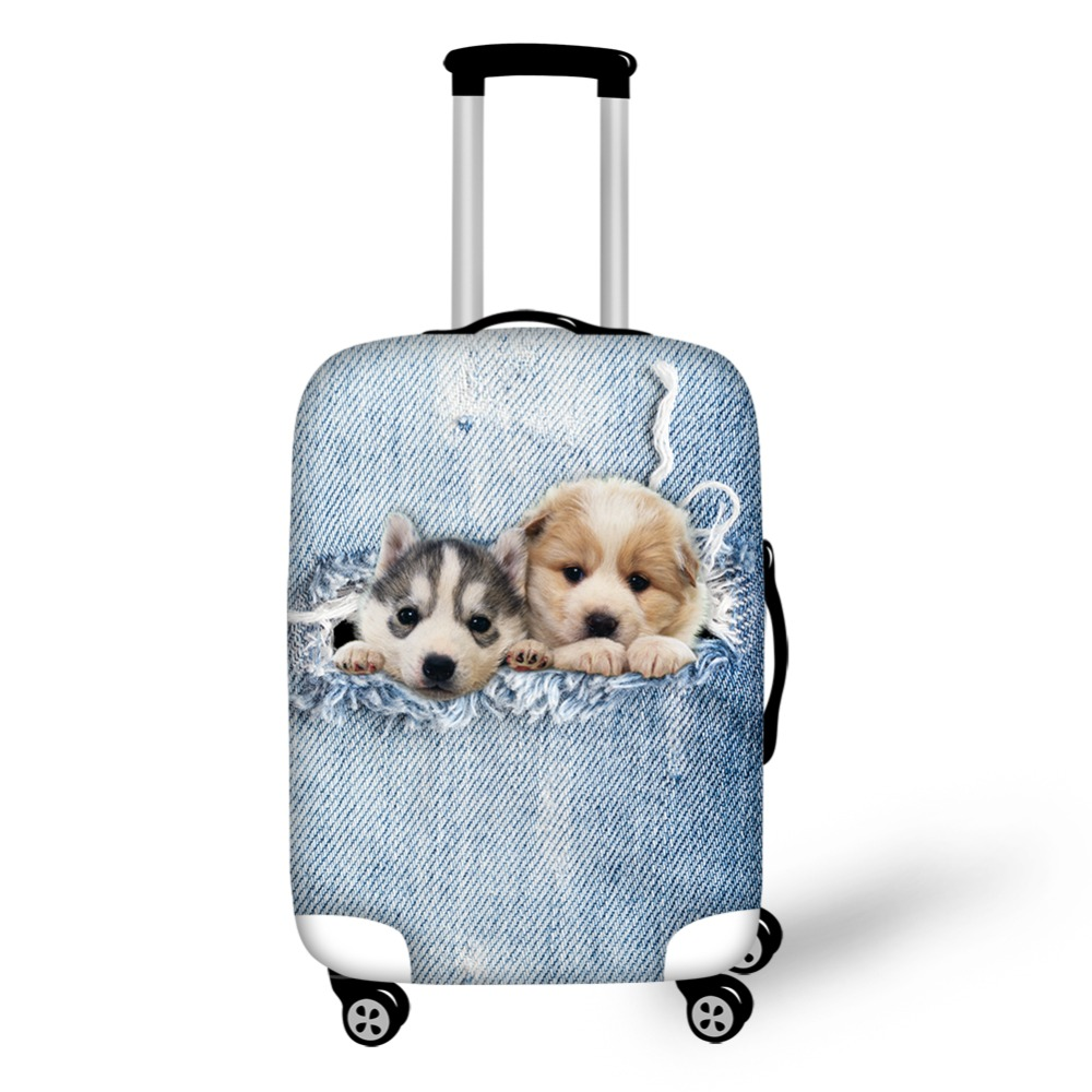 Cute Denim Puppy Dogs Elastic Suitcase Luggages Bags Travek Protective Cover For Trolley Case 18-30'' Protector Bags