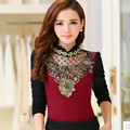 Plus Size Women Shirts Slim Lace Full Sleeve Turtleneck Add Wool Thickening And Keep Warm Blouse Shirt Black 217