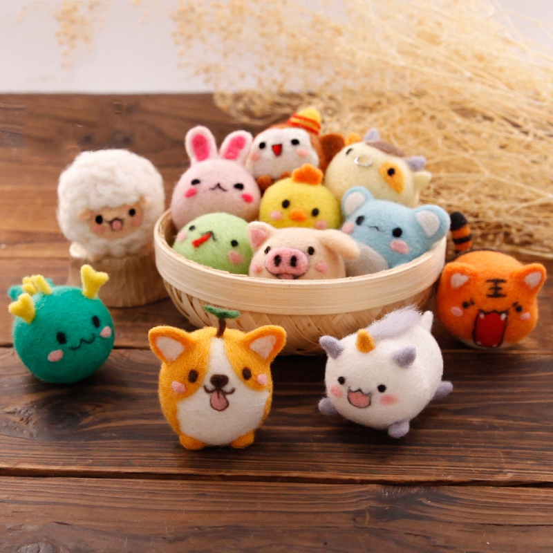 Felt Craft 1 Set Non-finished Products DIY Material Package for Beginner Zodiac Signs Wool Felt Poke Felt Poked with Tools