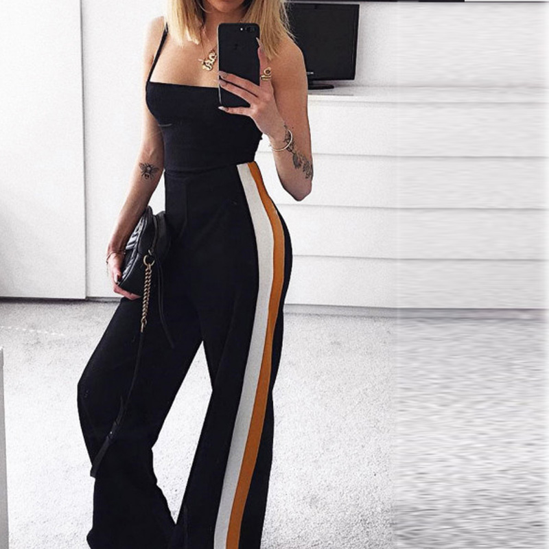 2018 Hot Sale Women Stripe Printed Drawstrubg   Wide     Leg     Pants   Casual   Leg     Pants   For Women Lace Up Trousers Women Casual   Pants