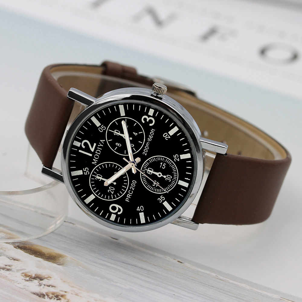 Drie Oog Horloges Quartz Heren Horloge Blauw Glas Riem Horloge Mannen Horloge Winder Band Sport Mannen Minimalistische Klok _ 12.5