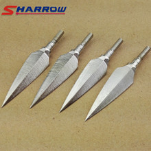6 Pcs Archery Polished Willow Leaf  Arrowhead Recurve Hardened Tip Hunting Compound Steel Arrow Accessories