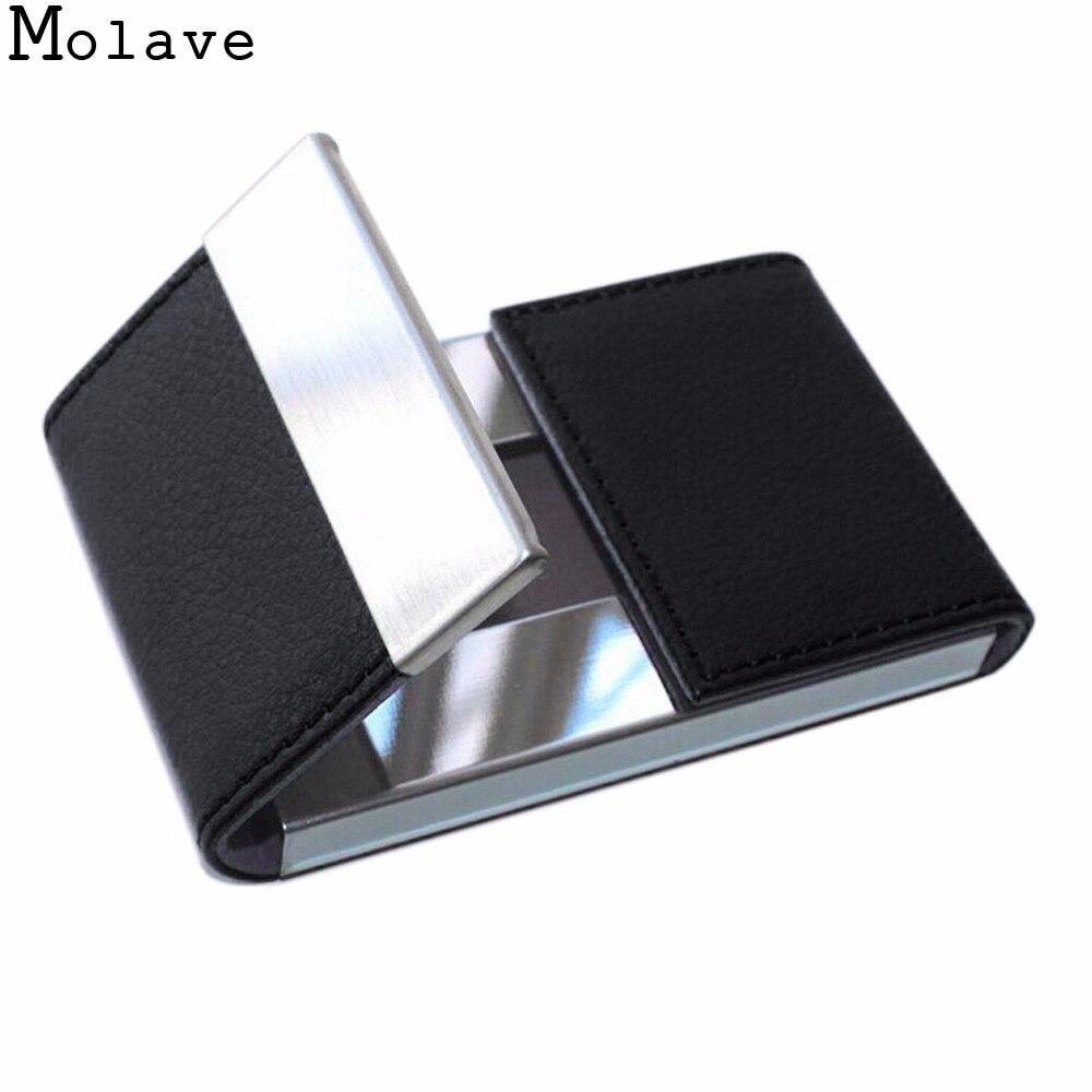 2017 New Arrival Modern Men Double Open Business Credit Card Holder Women Metal Pu Bank Card Case Card Box Apr20