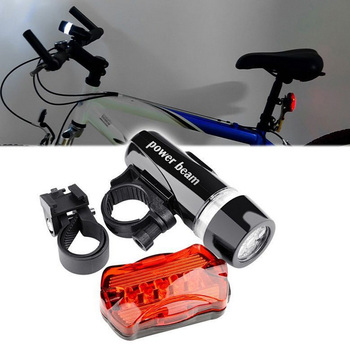 New Multifunction 5 LED Lamp Bike Bicycle Front Head Light Rear Waterproof Safety Flashlight Kits 88 YS-BUY image