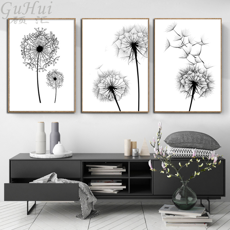 Scandinavian Black And White Minimalist Dandelion Canvas Painting Home Wall Picture Living Room Home Decoration Poster And Print