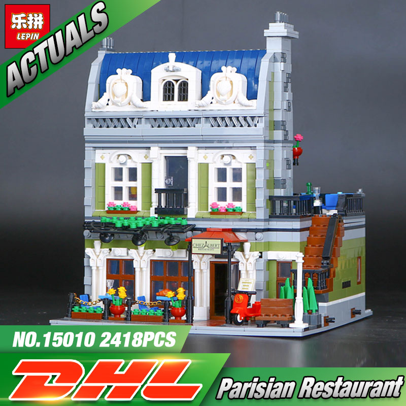 2017 NEW Lepin 15010 Expert City Street Parisian Restaurant Model Building Kits Blocks Funny Children Toys Compatible 10243 dhl new 2418pcs lepin 15010 city street parisian restaurant model building blocks bricks intelligence toys compatible with 10243