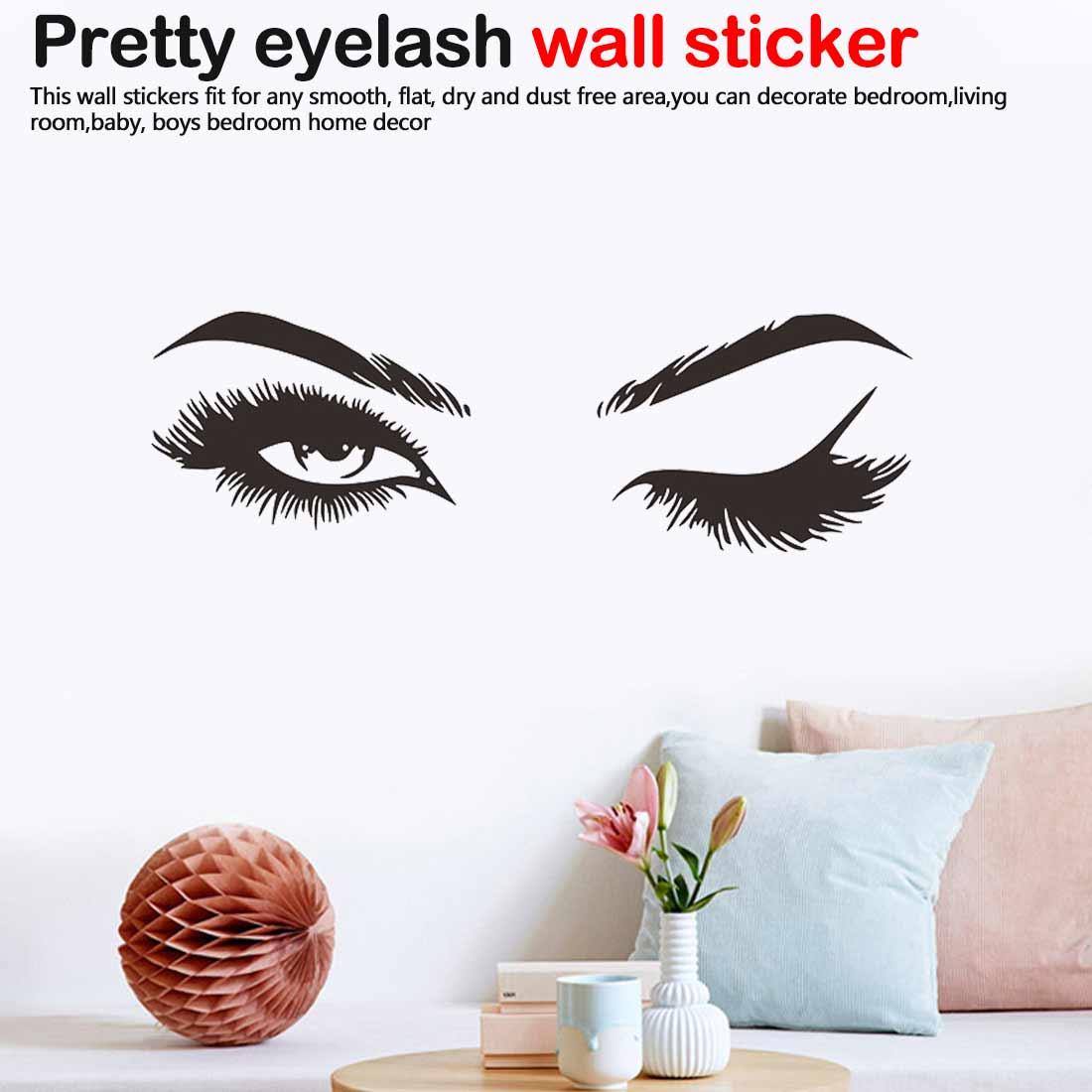 Beauty Salon Lady Big Eyes Lashes Wink Wall Sticker Art Mural Vinyl Decal Decor