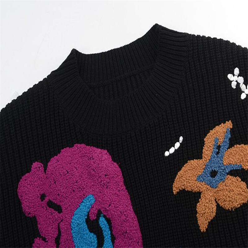 Sruilee Femme Femmes Jersey Douce Conception En Tricot Chandail Pull Automne Piste Top Black Fleur Hiver Sweat Large Brodé XrXv4