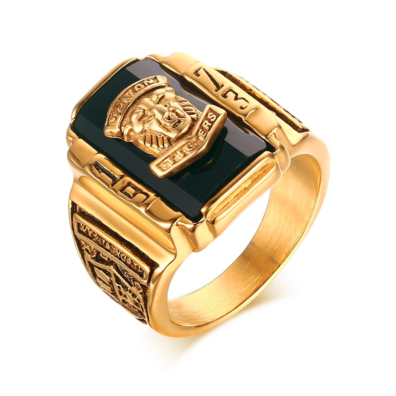 Fashion Mens Rings Gold color Stainless Steel 1973 Walton Tiger ...