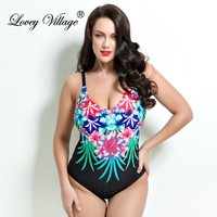 Lovey Village Bikini 2016 Womens Plus Size One Piece Swimsuit Swimwear Padded Monokini Women Bathing Suits