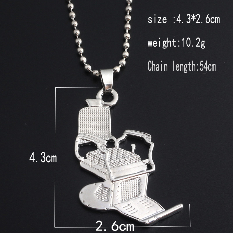 Fashion Barbers chair Necklaces Barber chair Hairdresser Gothic chain Necklace Barbers Series