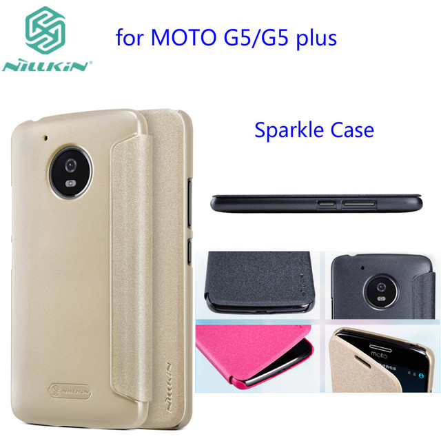 new style 8d458 e6c90 US $7.91 5% OFF|for Motorola Moto G5 Flip Case NILLKIN Sparkle Series  Plastic PU Leather Case for Moto G5 Plus case flip cover free shipping-in  Flip ...