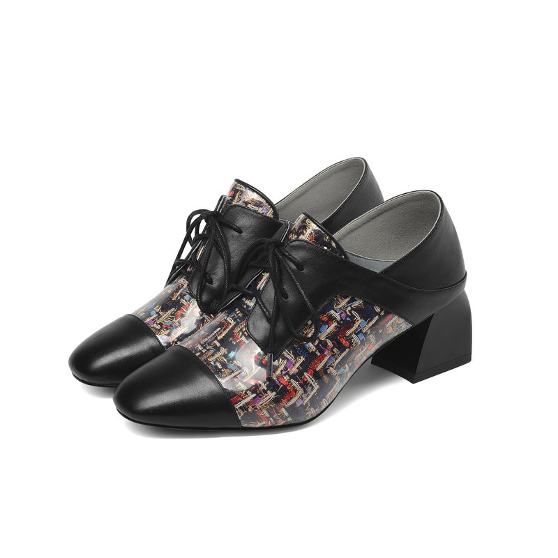 Moda Mujer Tacón Black Cuero Las Nueva Cuadrados Mujeres Alto Zapatos De Oxford Primavera Genuino Tacones Oxfords 5twgWqA