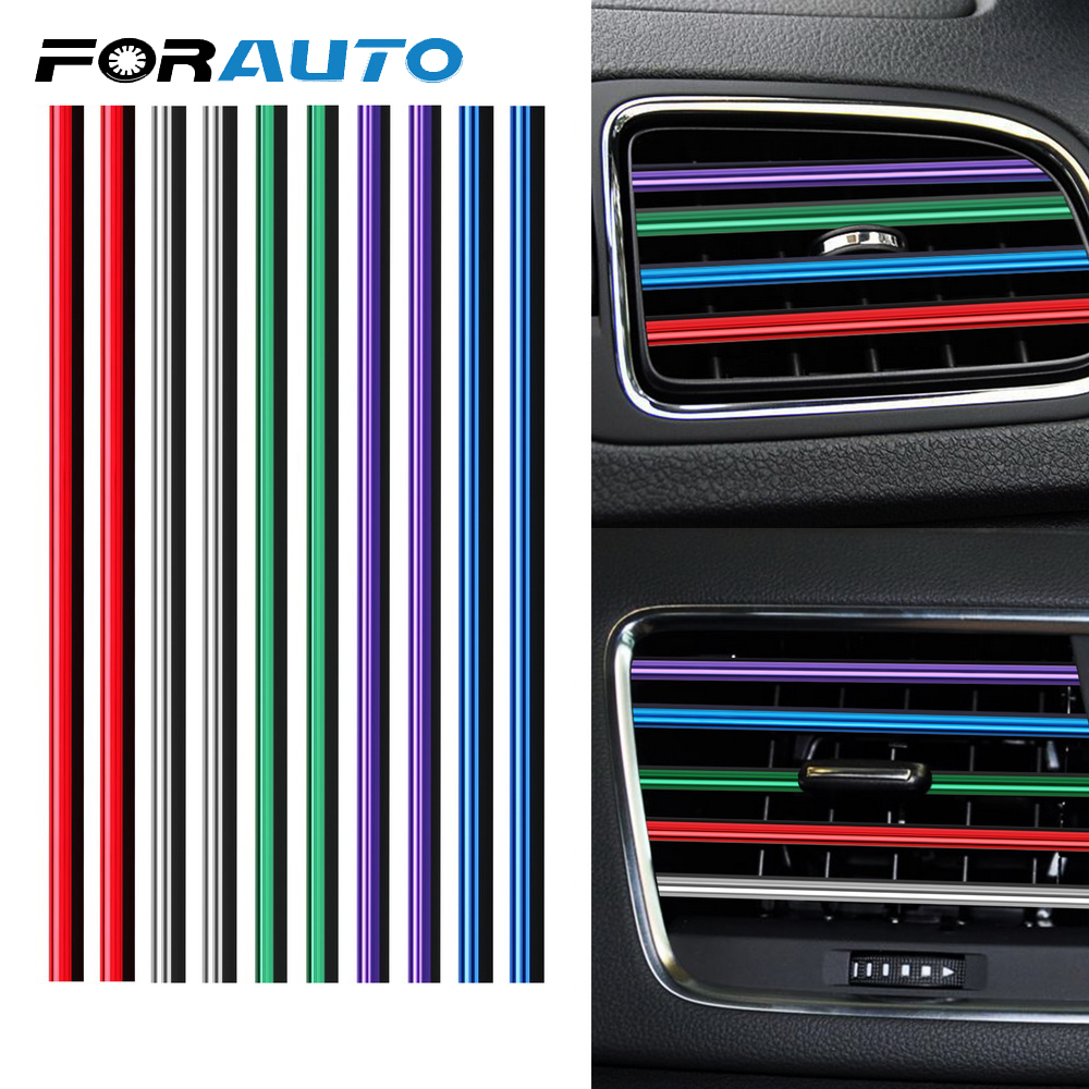 DIY 10 Pieces Car-styling Chrome Styling Moulding Car Air Vent Trim Strip Air Conditioner Outlet Grille Decoration U Shape