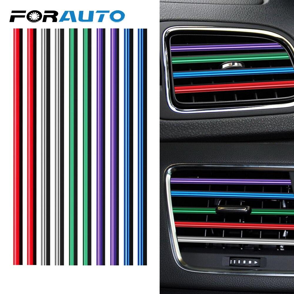 DIY 10 piezas coche-estilo de cromo estilo moldeado coche embellecedor de rejilla de ventilación de aire acondicionado rejilla de salida decoración en forma de U