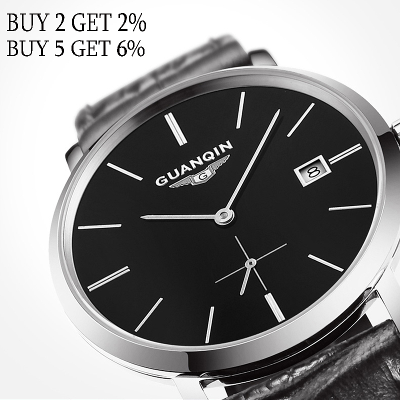 GUANQIN 2019 Mechanical Watch men business Automatic date clock man men's watches top brand waterproof date Relogio Masculino