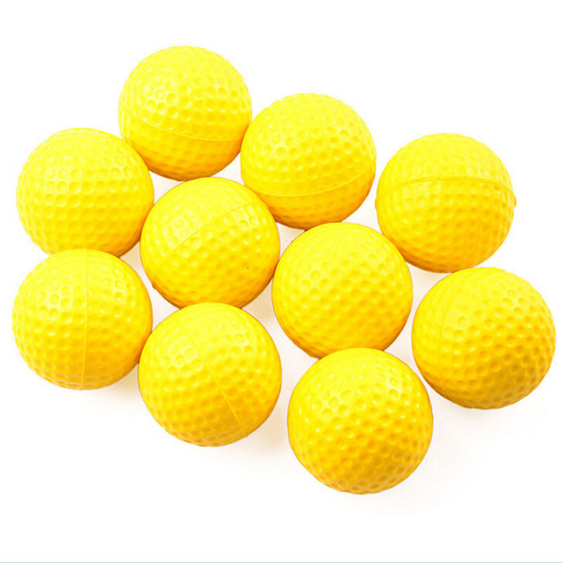 10PCS Plastic Golf Ball Outdoor Sports Yellow Soft Elastic Golf Balls Golf Practice Training Balls Training Aid High Quality