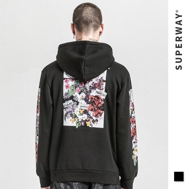 2018 haute rue marque Designer automne veste à capuche d'hiver hommes hors lettre blanc cassé couleur Floral Homewear Streetwear Style Hoodies