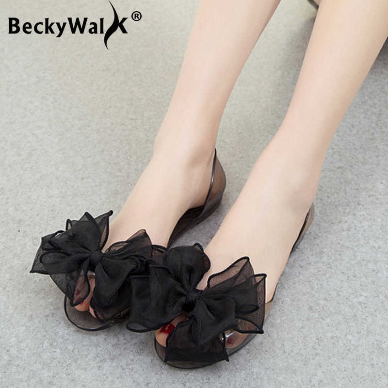 4d260097248b Sweet Bowknot Women Sandals Summer Jelly Shoes Woman Crystal Transparent Flats  Casual Beach Ladies Shoes WSH2053