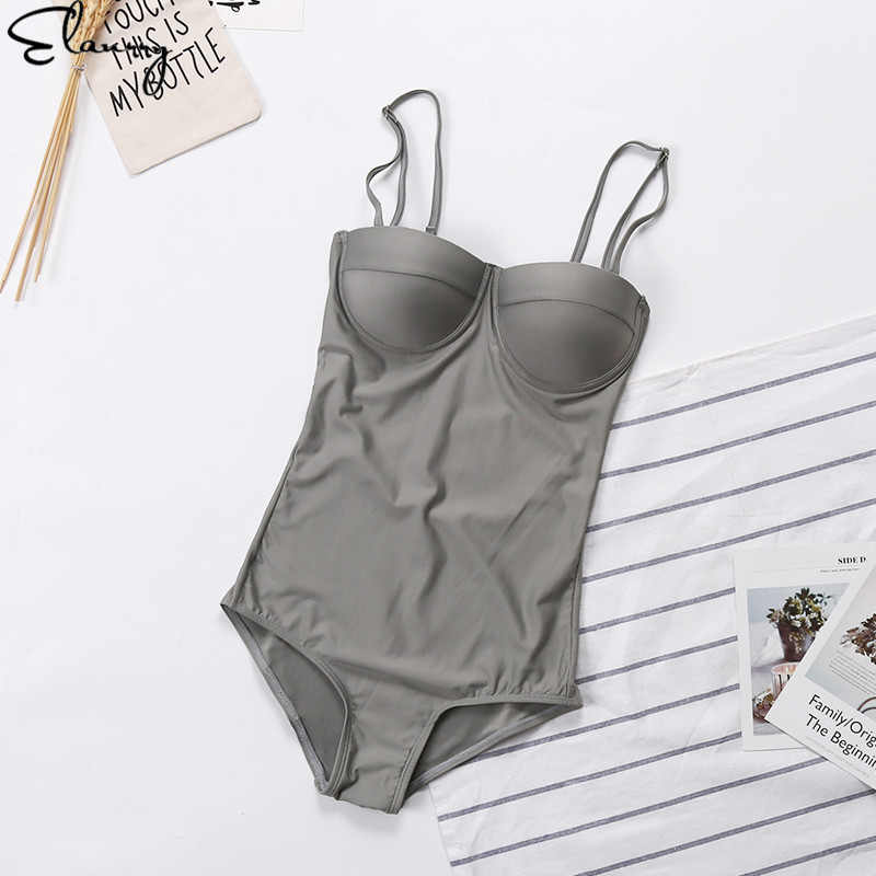 2018 Trending Girls One Piece Swimwear Women Push Up Swimsuit Maillot Solid Sexy