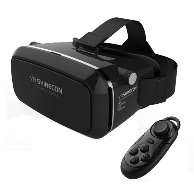 "VR Shinecon Virtual reality 3D Movie Smartphone Game 3D Glasses Helmet Google Cardboard 4-7""-6""Smartphone + Bluetooth Controller"