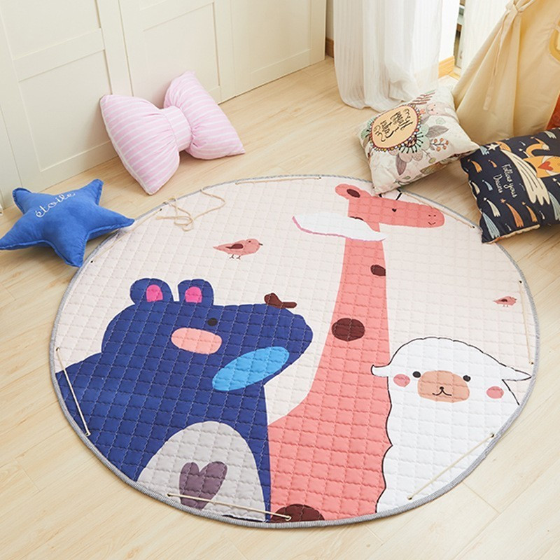 150cm Animal Baby Play Mats Round Kids Rug Toys Children's Carpet Cotton Developing Mat Rug Baby Puzzle Play Mat Storage Bag Toy
