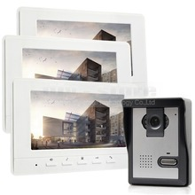 DIYKIT 800 x 480 7inch Video Intercom Video Door Phone 1 Camera 3 Monitors for Home / Office Security System White
