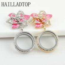 Fashion Jewelry Crystal Flower Brooch for Women 30mm Glass Memory Floating Locket Pin Rhinestone jewelry Gold