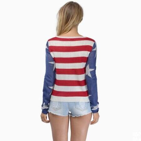 MUAONE 2018 Autumn New Women Fashion Stripes Star Print Design Casual Pullover Sweater High Quality Brand Sweater 15360M061