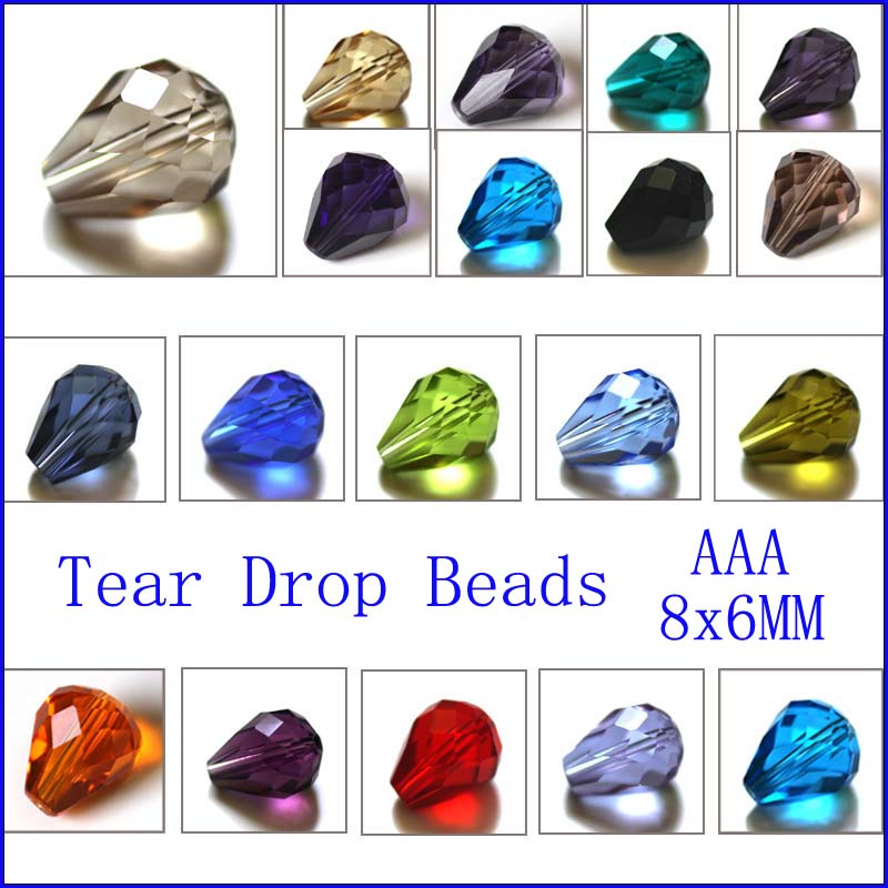 AAA Tear Drop Crystal Beads 8 6MM 100PCS LOT Mixed Color Crystal Drop Beads Faceted Glass Beads for Jewelry in Beads from Jewelry Accessories