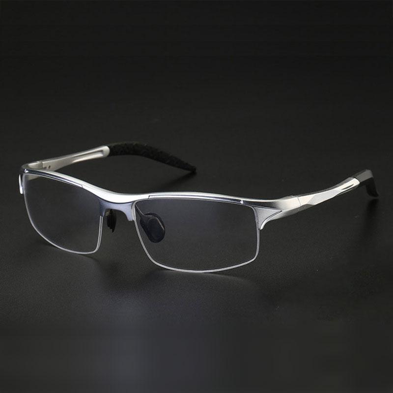8177, montura de gafas ópticas para hombres, gafas graduadas, gafas de media montura para hombre, gafas con montura de aleación