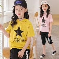 Filles d'été Vêtements Casual Enfants Étoiles Imprimer Vêtements Set Version Coréenne Enfants Mouvement Tops Shorts Tissu Enfants Costumes pour 5-9Y