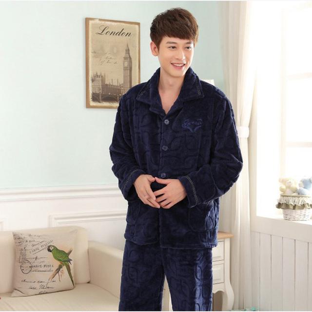 Otoño e Invierno de Los Hombres de Moda Casual Espesar Conjuntos De Pijamas de Franela ropa de Noche de Terciopelo Visón Cashmere ropa de Gran Tamaño