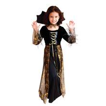 Child Kids Girls Black Gold Spiderweb Dark Countess Vampire Vampiress Costume Halloween Purim Carnival Masquerade Party Dress