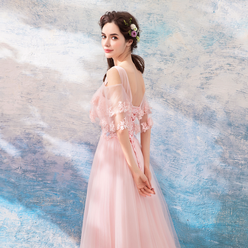 21699188ad Scoop Light Pink Evening Dresses Romantic Long Formal Gown ...