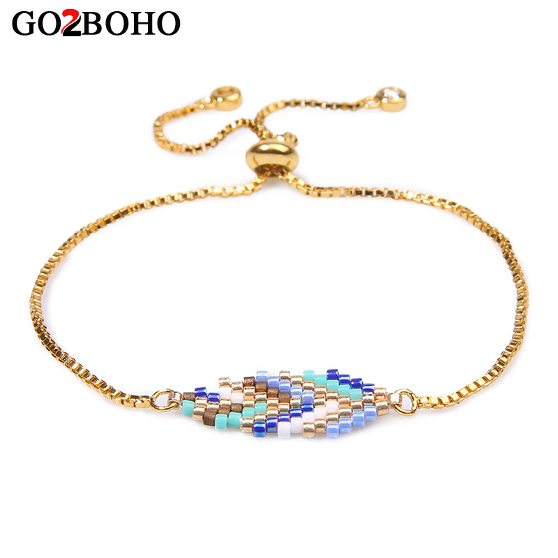 Go2boho Bohemian Charms Bracelet Women Fashion rose gold Color Bracelets Seed Beads Woven Jewelry Leaf Pattern Friendship Gifts in Chain Link Bracelets from Jewelry Accessories