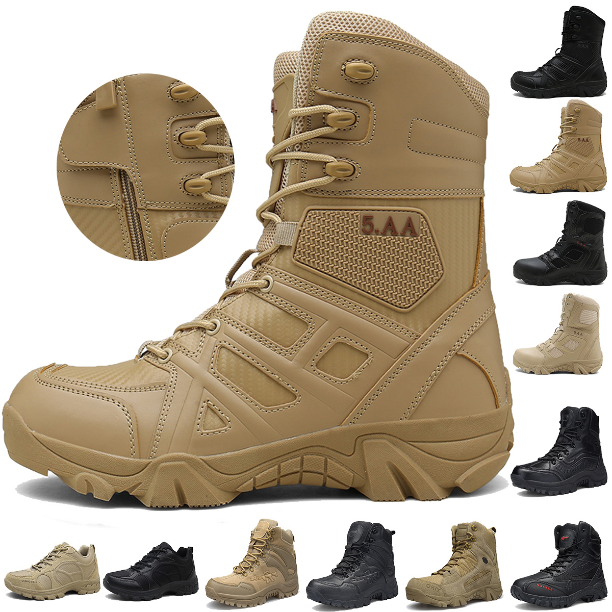 Boats Army Work Shoes Leather Snow Boots